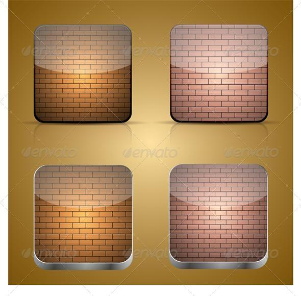 Vector App Brick Icon Set on Brown Background - Web Elements Vectors
