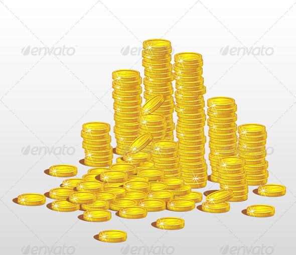 Stacks of Gold Coins.  The Concept of Profit - Business Conceptual
