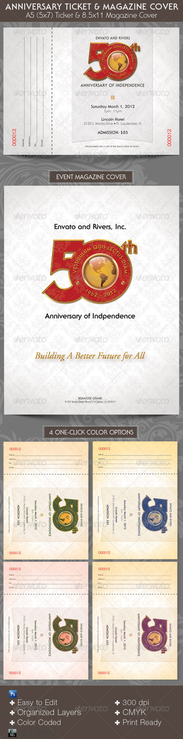 Anniversary Event Ticket Plus Magazine Cover Template - Miscellaneous Print Templates