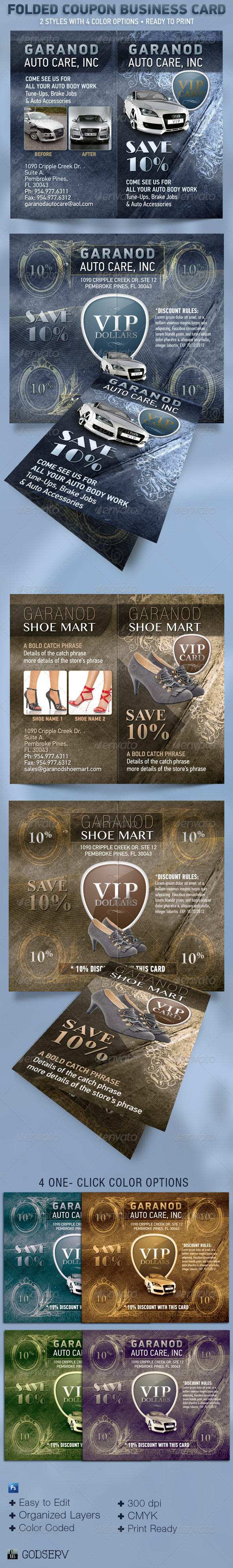 Folded Coupon Card Template - Corporate Business Cards