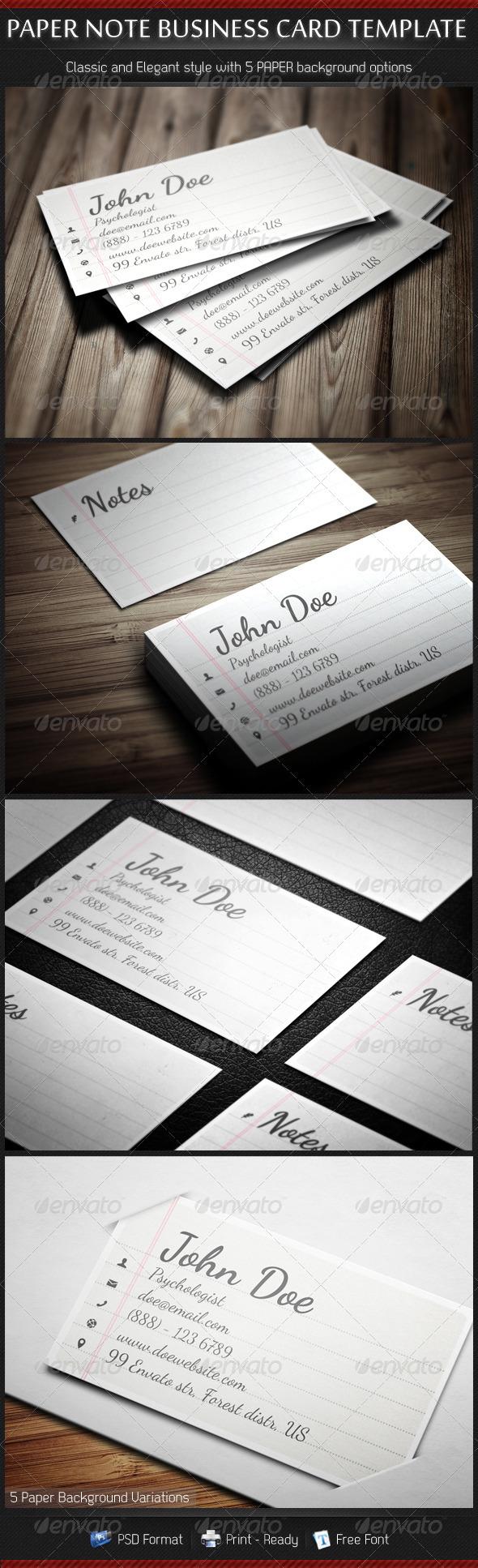 Paper Note Handscript Creative Business Cards - Retro/Vintage Business Cards