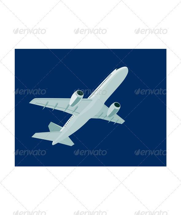 Commercial Jet Plane Airline Ret - Travel Conceptual
