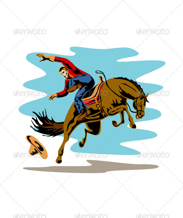 Rodeo Cowboy Riding Bucking Bronco Horse  - Sports/Activity Conceptual