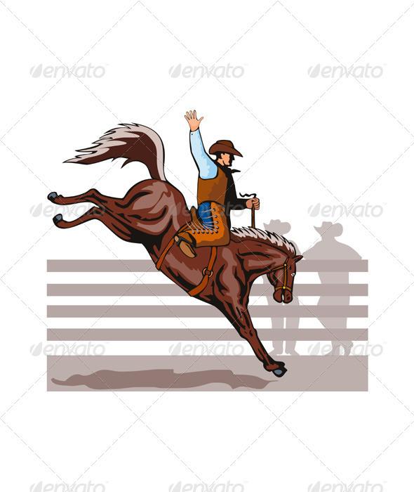 Rodeo Cowboy Riding Bucking Bronco Horse  - Sports/Activity Conceptual