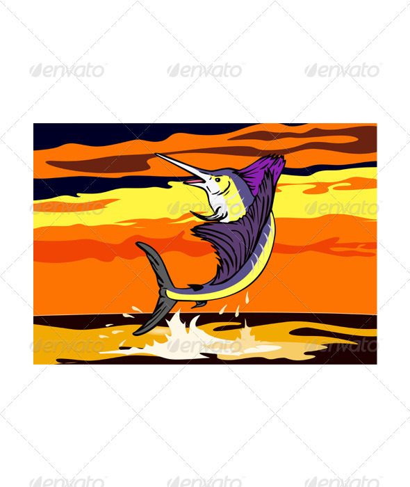 Sailfish Fish Jumping Retro  - Animals Characters
