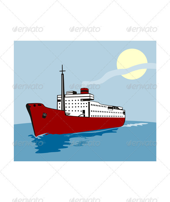 Container Ship Cargo Boat Retro  - Travel Conceptual
