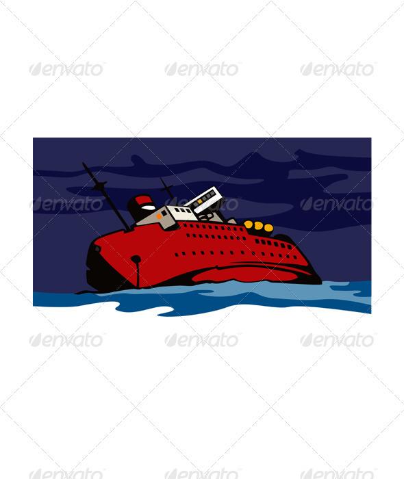 Passenger Ship Cargo Boat Sinking Retro  - Travel Conceptual