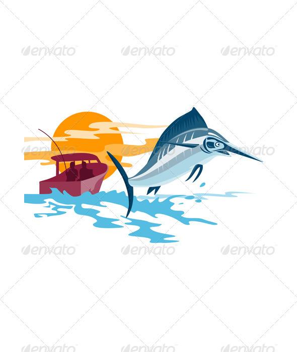 Sailfish Fish Jumping Retro  - Animals Characters