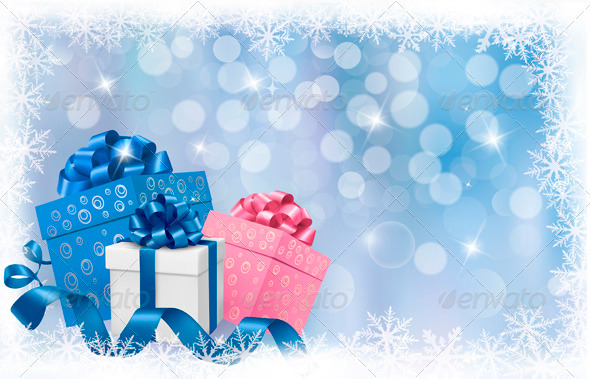 Christmas background with gift boxes and ribbons - Christmas Seasons/Holidays