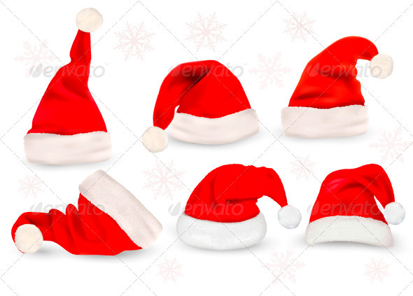 Big collection of red santa hats  Vector  - Christmas Seasons/Holidays