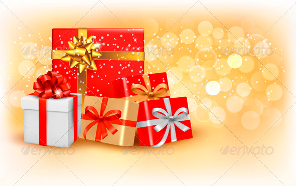 Christmas gold background with gift boxes - Seasons/Holidays Conceptual