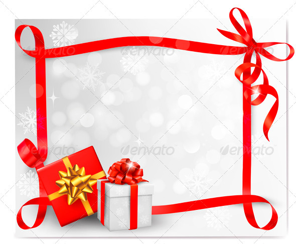 Holiday background with red gift bow and ribbons - Christmas Seasons/Holidays
