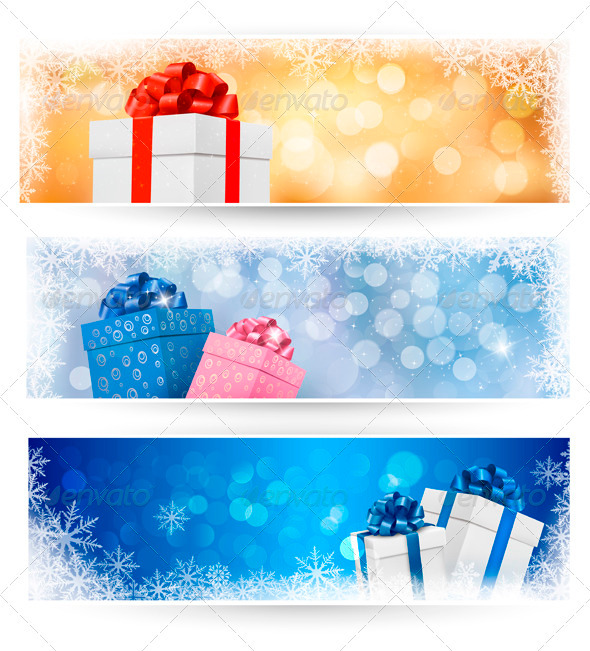 Set of winter christmas banners illustration - Seasons/Holidays Conceptual