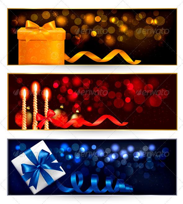 Set of winter christmas banners with gift boxes - Christmas Seasons/Holidays