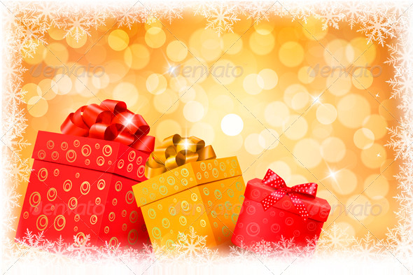 Christmas gold background with gift color boxes - Christmas Seasons/Holidays
