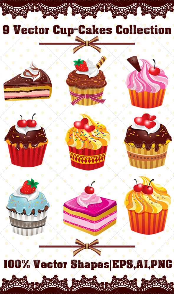 9 Various Cup-Cakes Collection - Food Objects