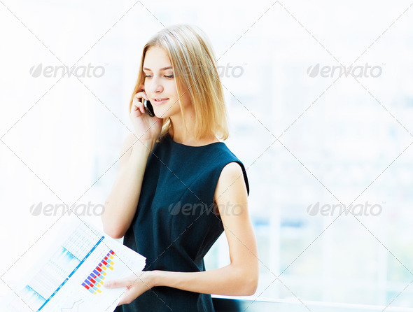 young pretty business woman... - Stock Photo - Images