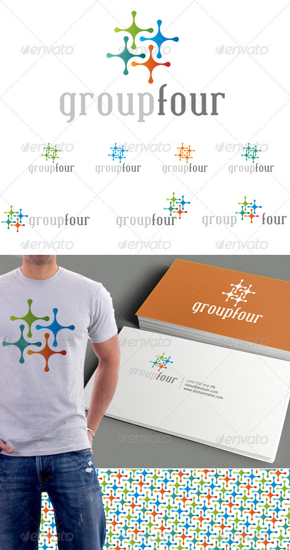 Group Four Logo & Background - Vector Abstract