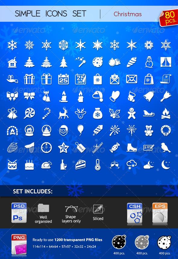 80 Simple Icons - Christmas - Seasonal Icons