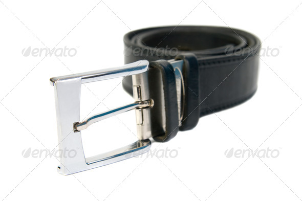 Twisted leather belt with a buckle. Isolated on white background - Stock Photo - Images
