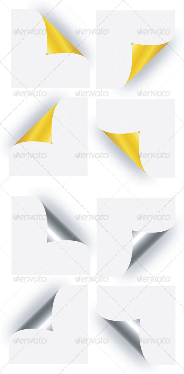 Page Curl - Golden & Silver - Backgrounds Decorative