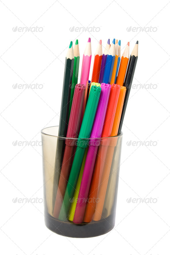 Pencils and soft-tip in a glass - Stock Photo - Images