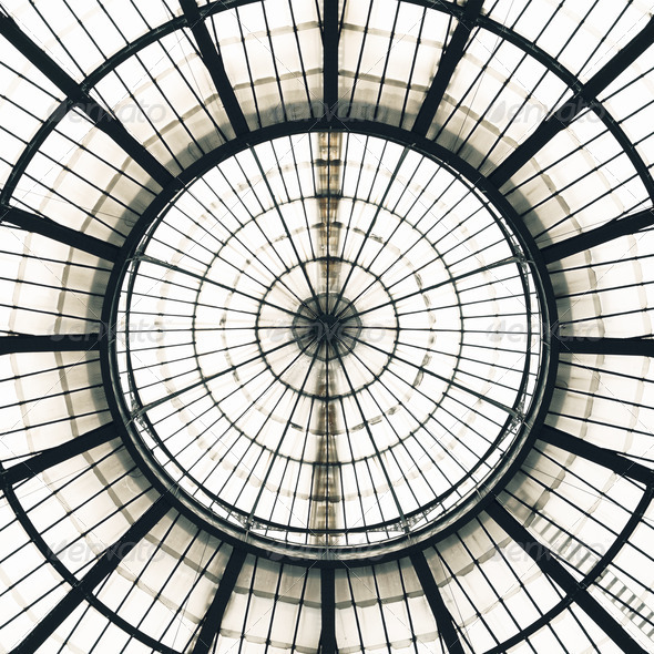 Glass Ceiling Dome pattern, Vittorio Emanuele II Gallery, Milan Italy - Stock Photo - Images