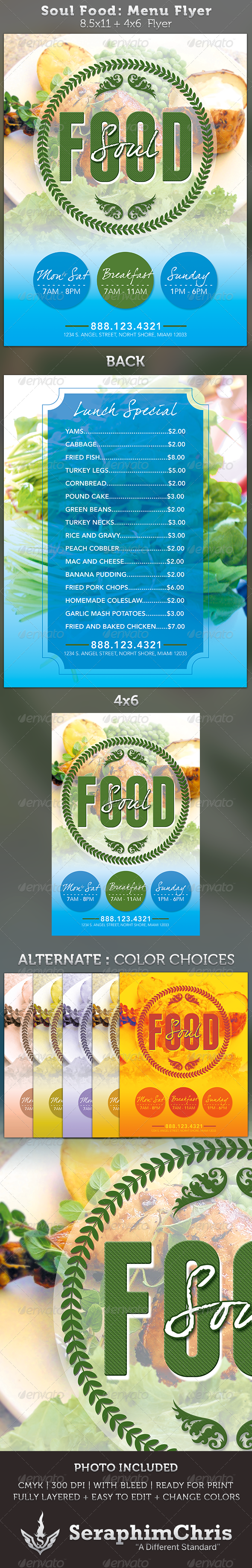 Soul Food Menu Flyer Template - Restaurant Flyers