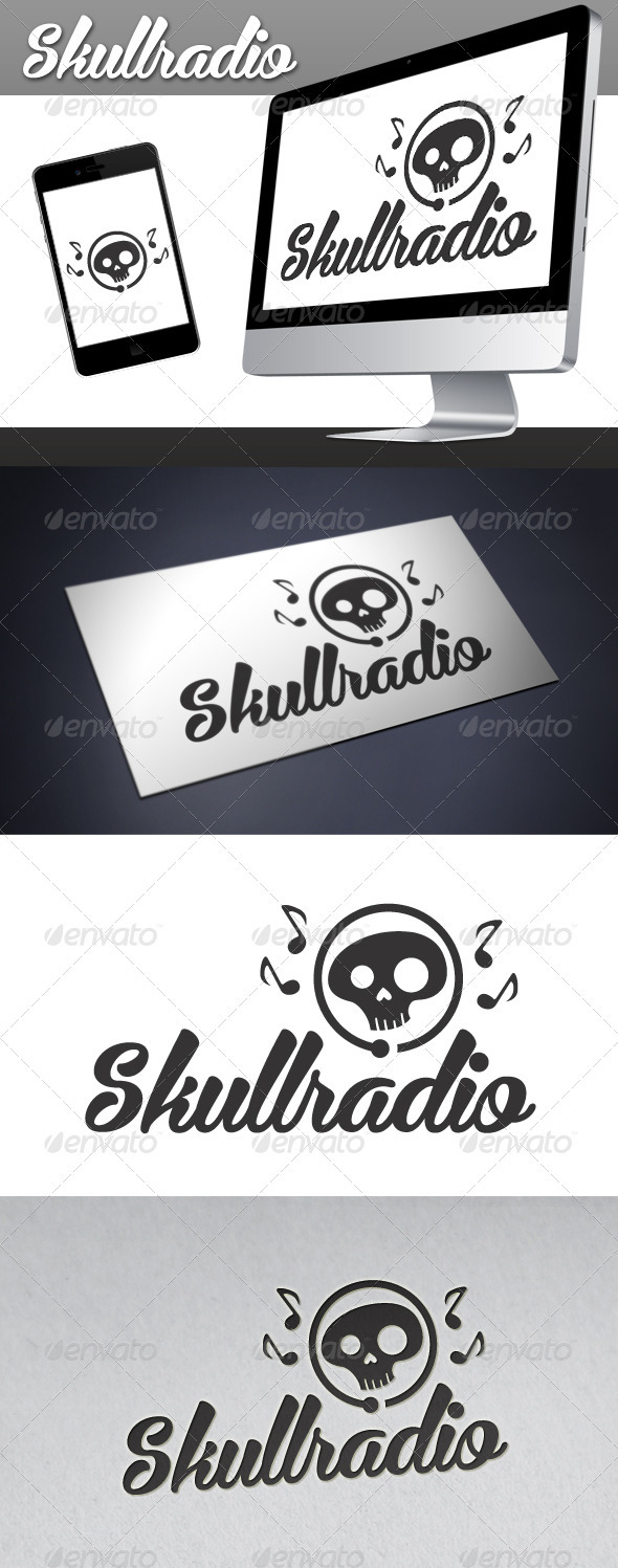 Skull Radio Logo - Objects Logo Templates