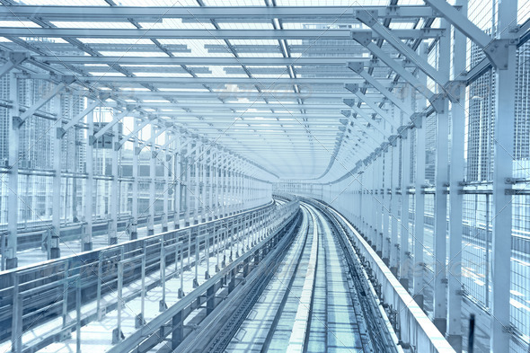 Tokyo monorail transportation system line metal tunnel. Blue ton - Stock Photo - Images