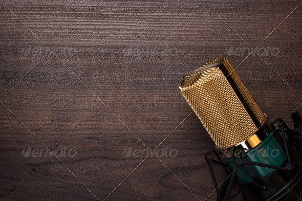 Vintage Condensing Microphone On The Wooden Background - Stock Photo - Images