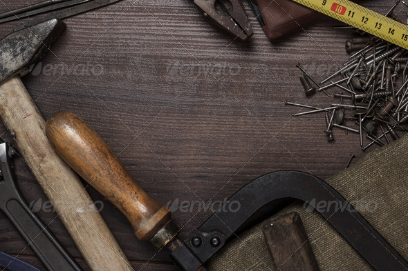 Construction Instruments On The Wooden Background - Stock Photo - Images