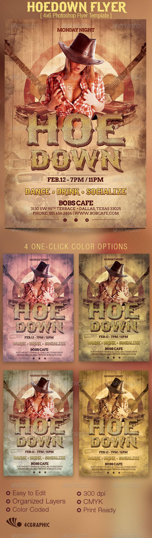 Hoedown Country Flyer Template - Events Flyers