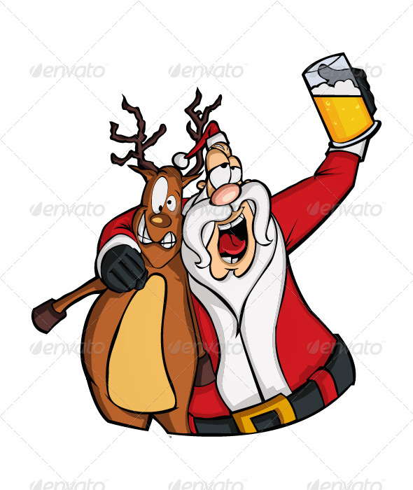 Drunk Santa Claus - Characters Vectors