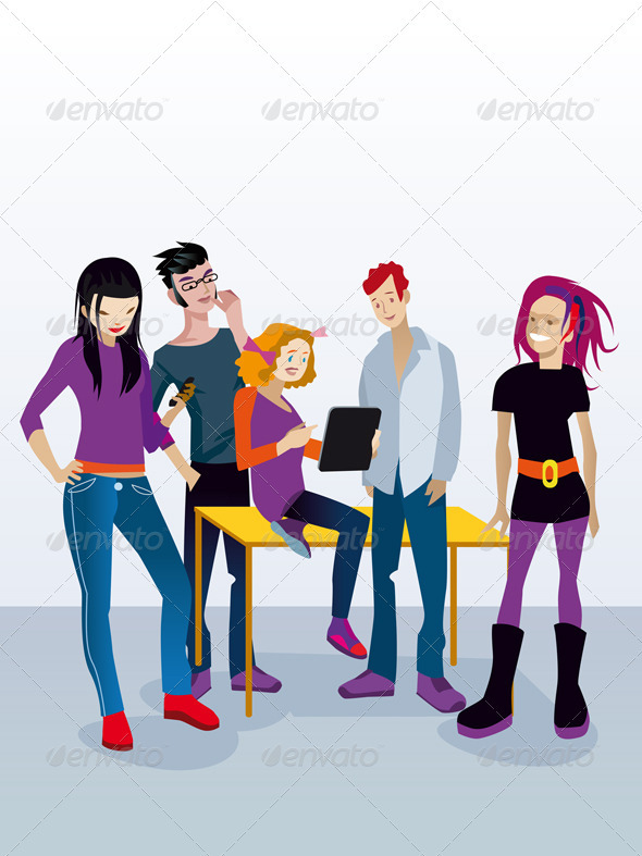 Students with Digital Tablet - People Characters