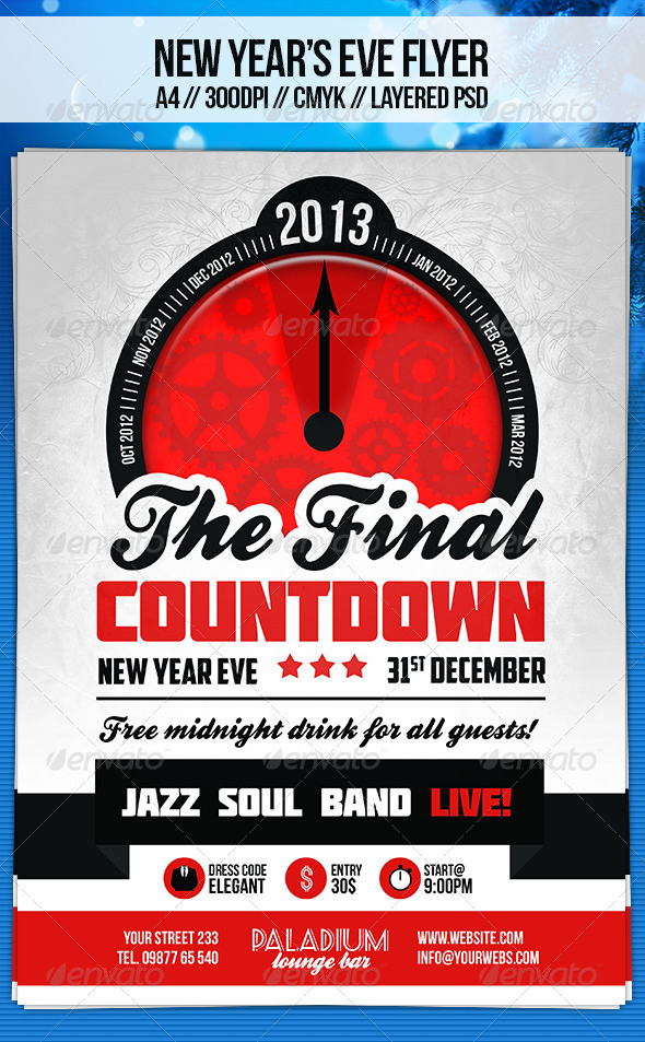 Retro New Year's Eve Flyer Template - Holidays Events