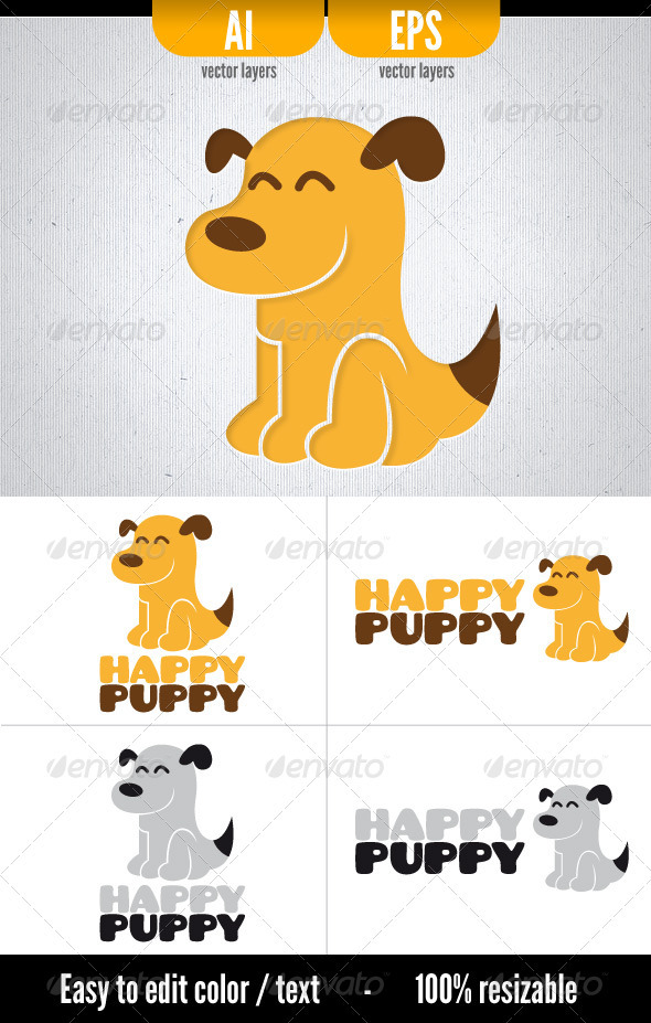 Happy Puppy - Animals Logo Templates