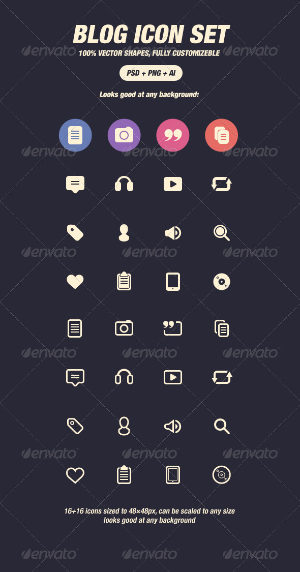 Glyph Icons for Blog (48px) - Web Icons