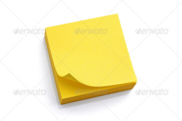 Blank yellow sticky note - Stock Photo - Images