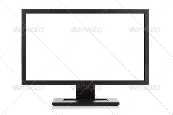 Widescreen computer monitor or television - Stock Photo - Images