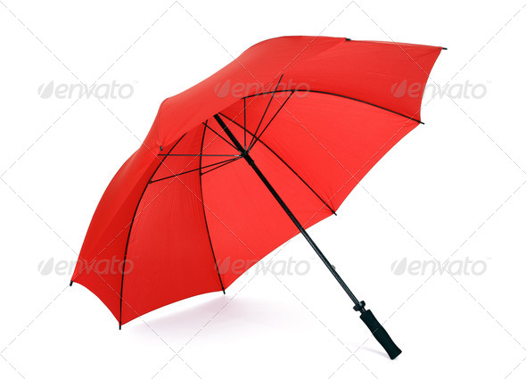 Red umbrella isolated - Stock Photo - Images