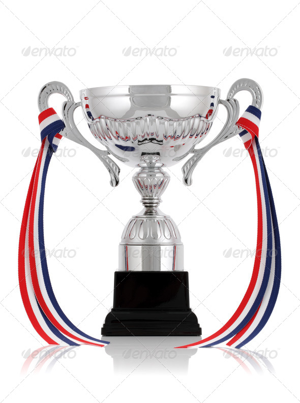 Silver trophy with ribbon - Stock Photo - Images