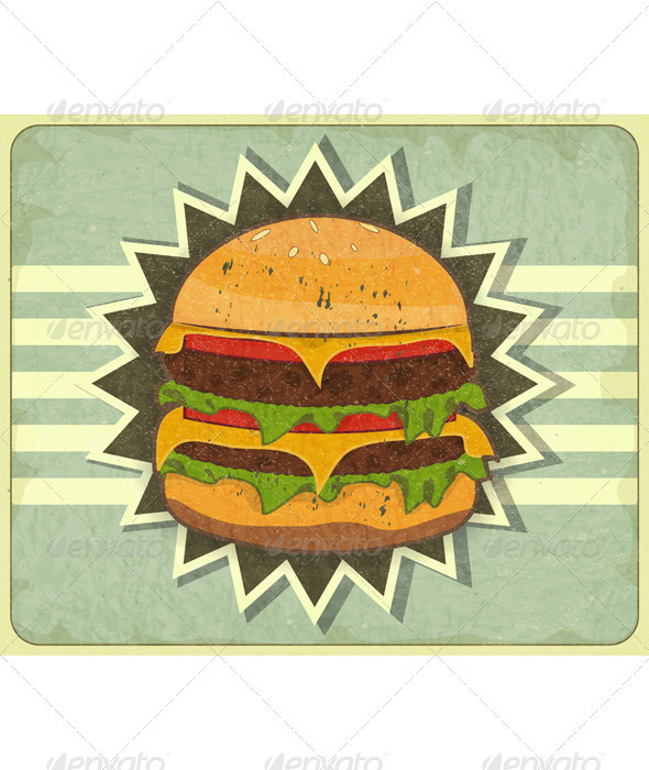 Retro Cover for Fast Food Menu - Food Objects