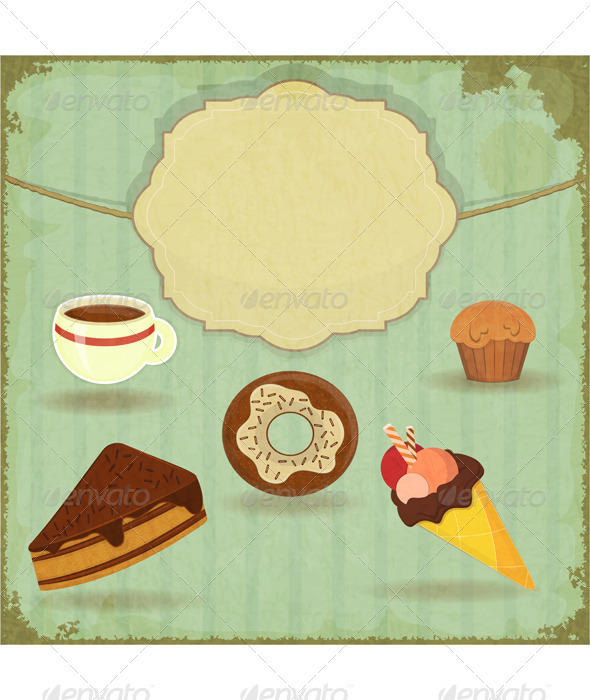 Vintage Cafe Menu - Food Objects