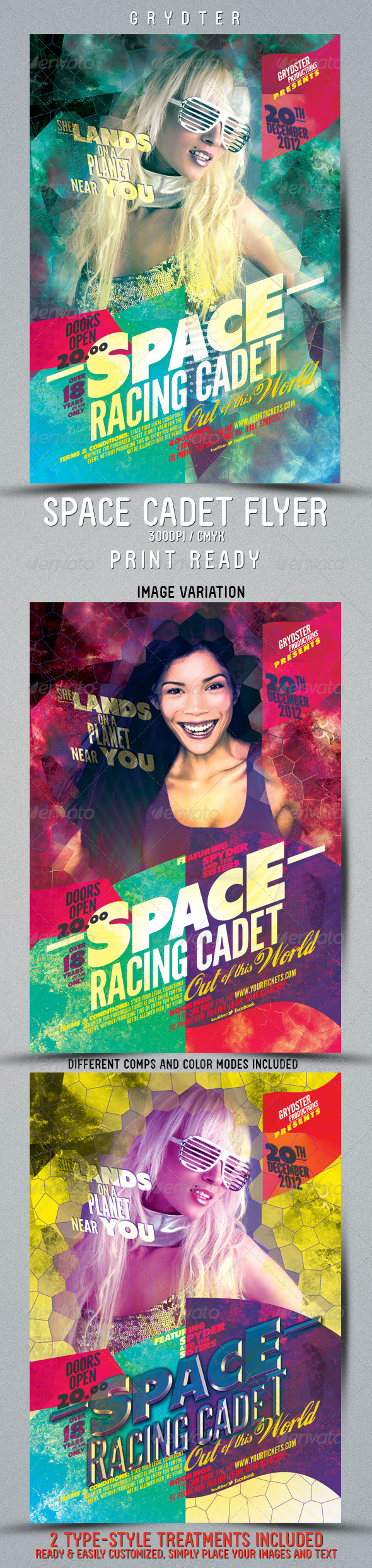 Space Cadet Flyer template - Clubs & Parties Events