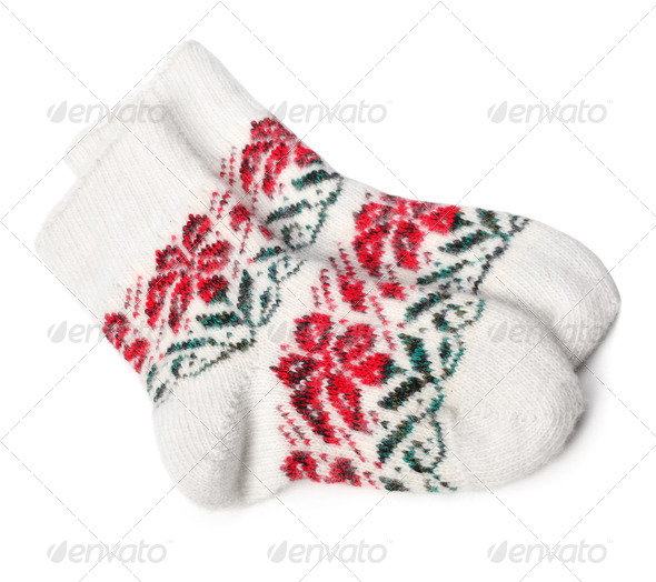 Winter Knitted Woolen Socks on white  - Stock Photo - Images
