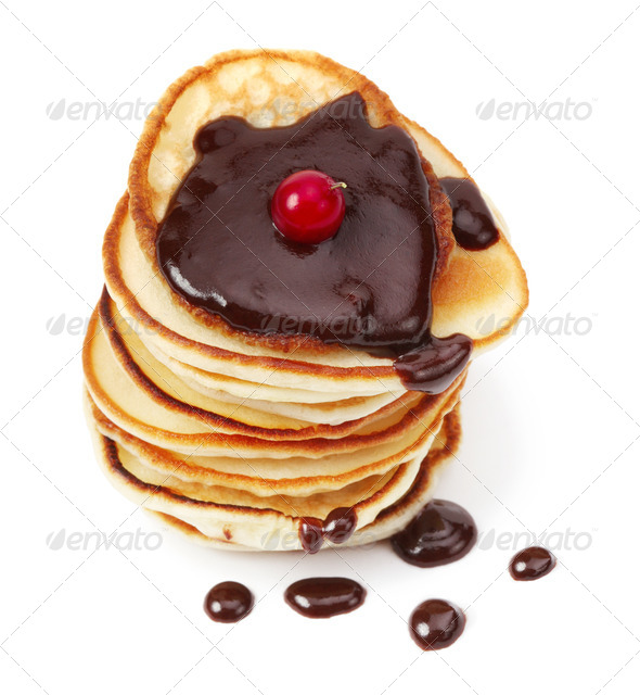 Pancakes with Chocolate - Stock Photo - Images
