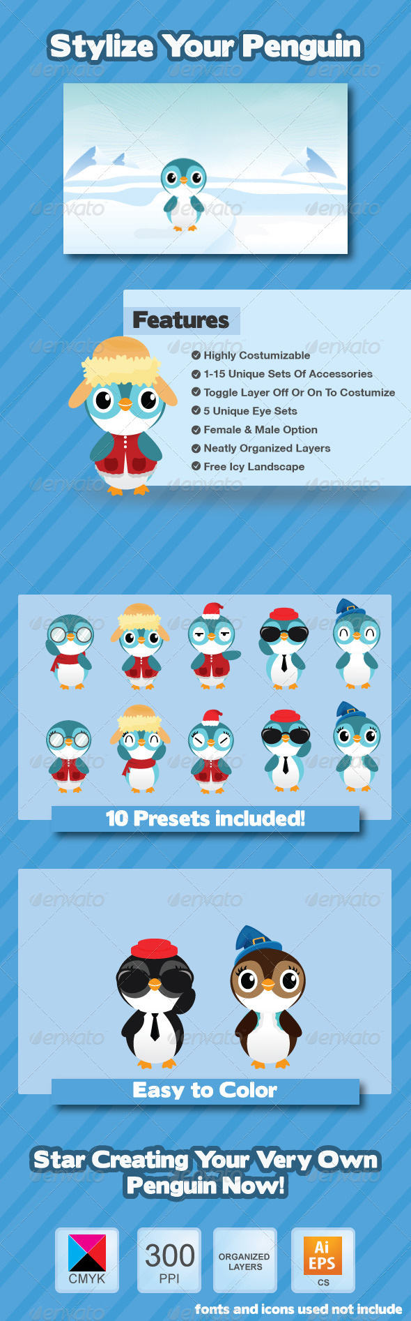 Penguin Creation Kit - Animals Characters