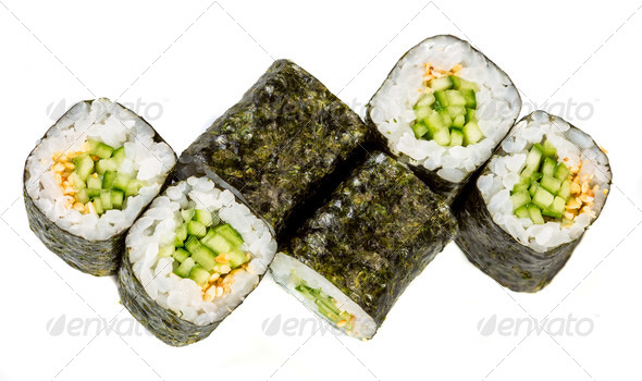 Sushi Roll (Kappa maki roll) on a white background - Stock Photo - Images