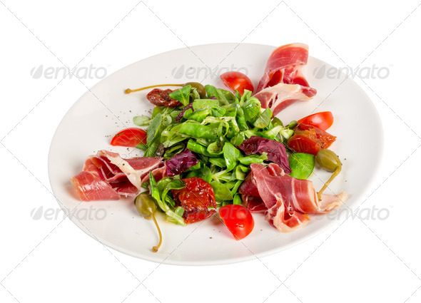 Salad from eruca and bacon - Stock Photo - Images